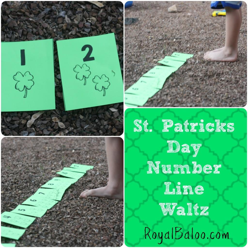 St Patricks Day Number Line Waltz - practice number line skills using gross motor skills!