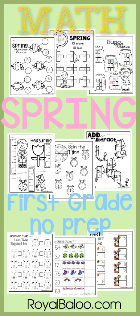Spring No Prep First Grade Math Pack