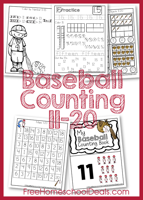 Baseball Counting Pack for Numbers 11-20