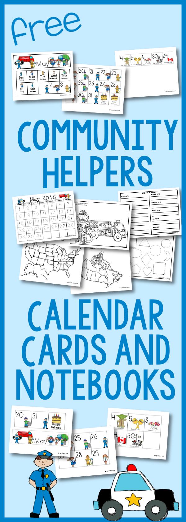 Community Helper Calendar Cards – Free!