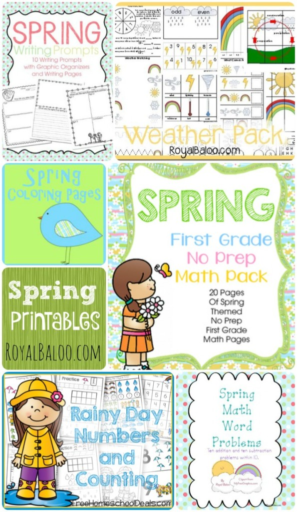 Spring Printable Round Up from Royal Baloo! Tons of printables for math and language arts for tot (toddler), preschool, kindergarten, 1st grade, and 2nd grade!
