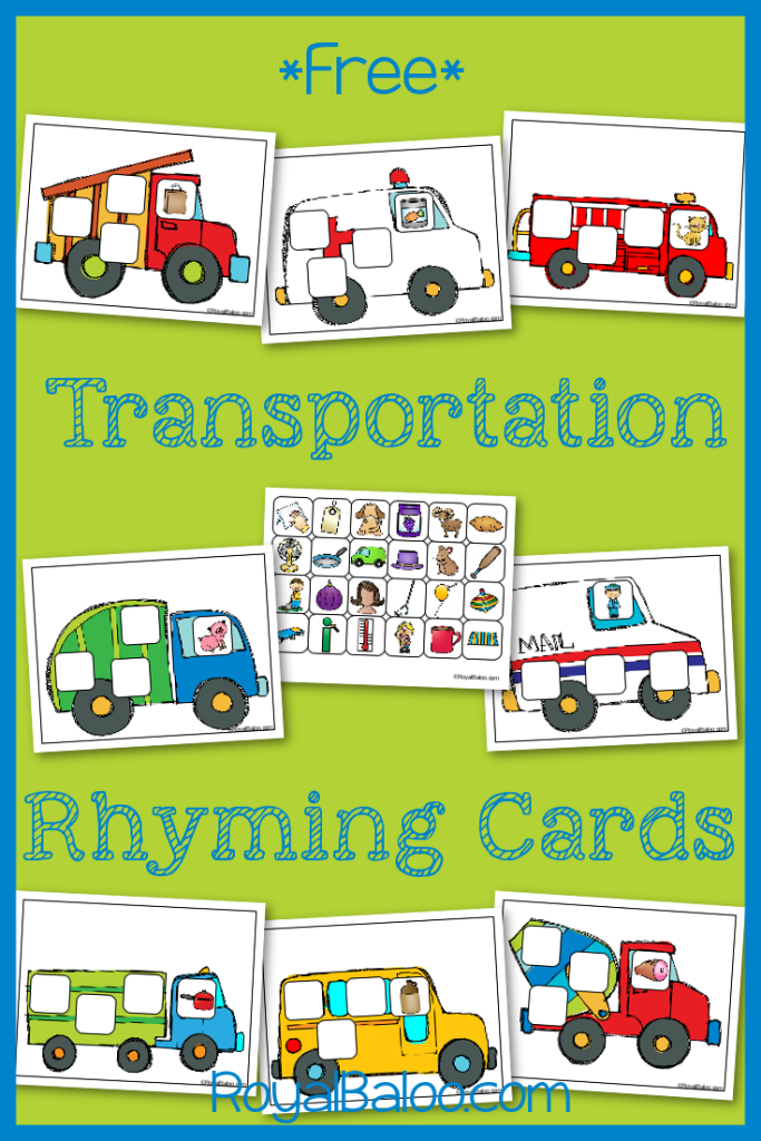 Transportation Rhyming Cards free. Practice rhyming skills with a transportation theme!