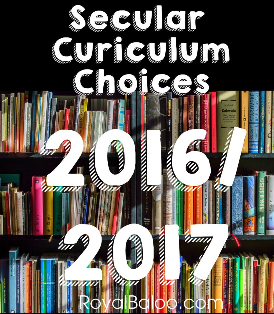 Secular Curriculum choices for 2016/2017 for kindergarten, first grade, and fifth grade