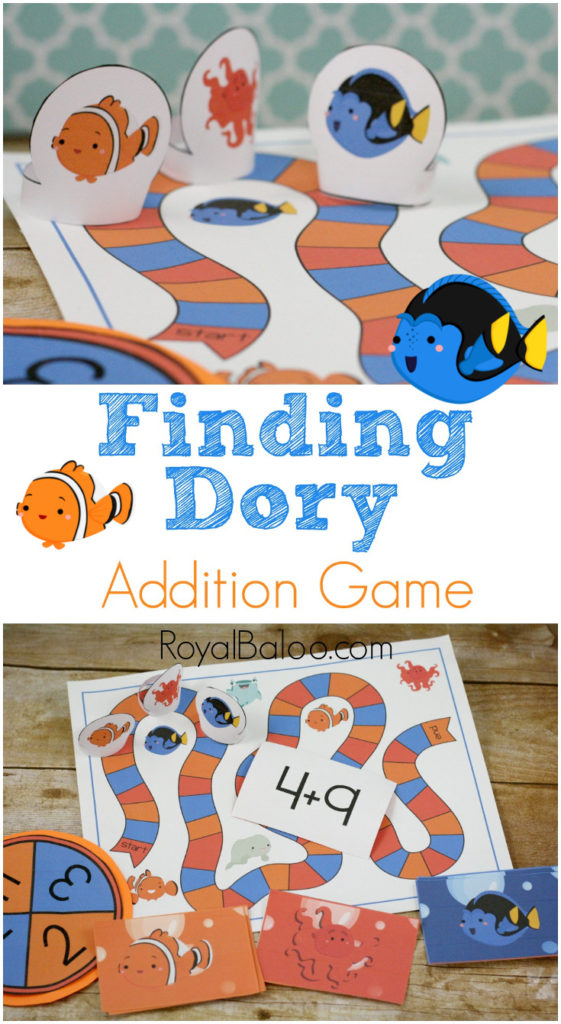 Find Dory Addition Game - free math game for kindergarten and first grade.