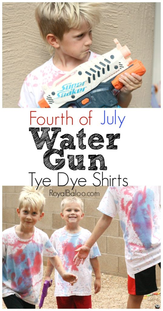 Fourth of July Water Gun Tye Dye Shirts.