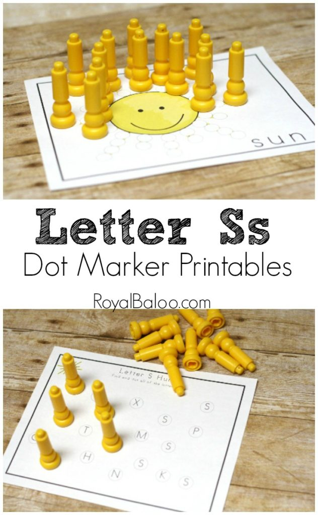 Free Alphabet Learning Dot Marker Pages for Letter Ss. Ss is for sun!