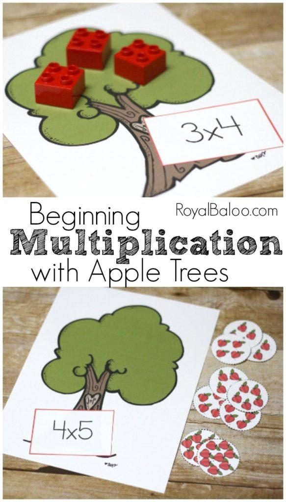Learn Multiplication with an apple theme! Beginning Multiplication with Apple Trees and free printable.