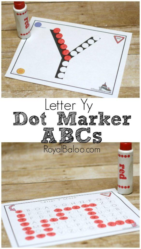 Dot Marker Alphabet series Letter Yy!  Letter Yy Dot Marker ABC set for teaching letters, letter sounds, beginning sounds, and more!