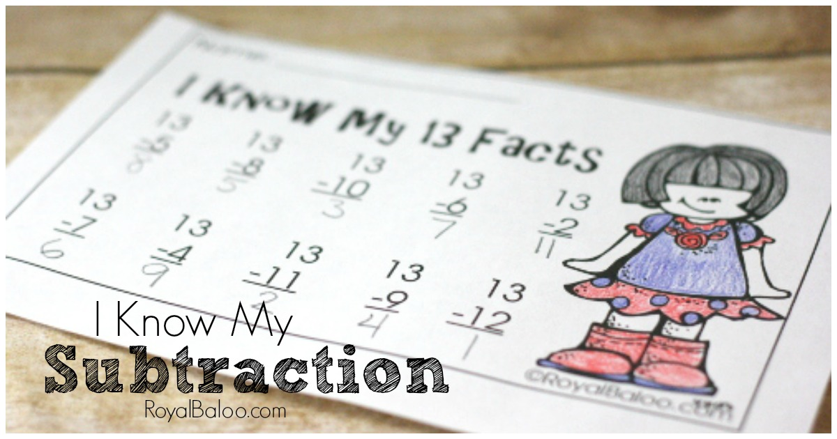 Free Subtraction Practice – I Know My Subtraction