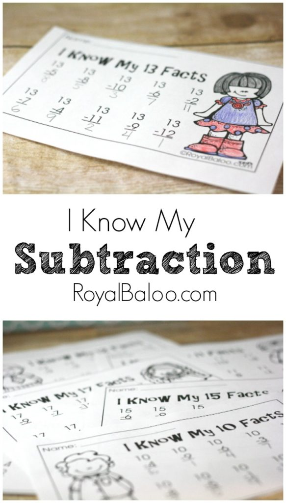 Practice subtraction (the fun way) with these fun and free printables! One Minute Math!