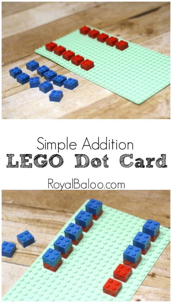 Simple Addition LEGO Dot Card - learn addition with not so abstract qualities.  LEGO Addition is what gets kids engaged.