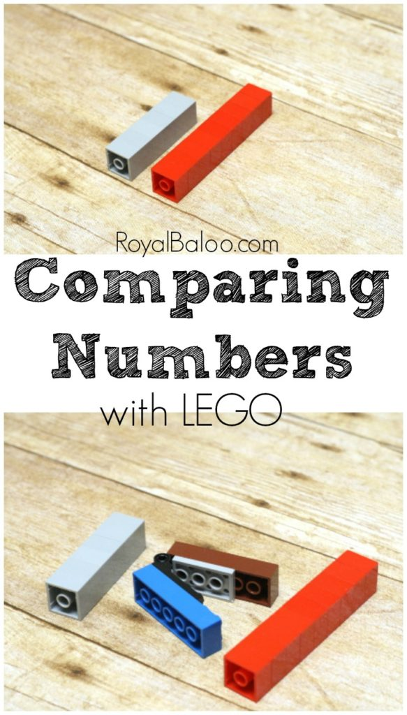 Comparing Numbers with LEGO. Use LEGO Bricks to make towers to compare. Create your own greater than and less than symbols.