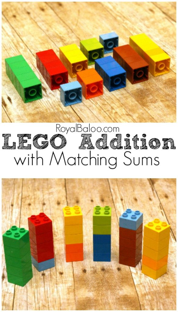 LEGO Addition! Practice LEGO Sums with this simple LEGO Addition Activity.