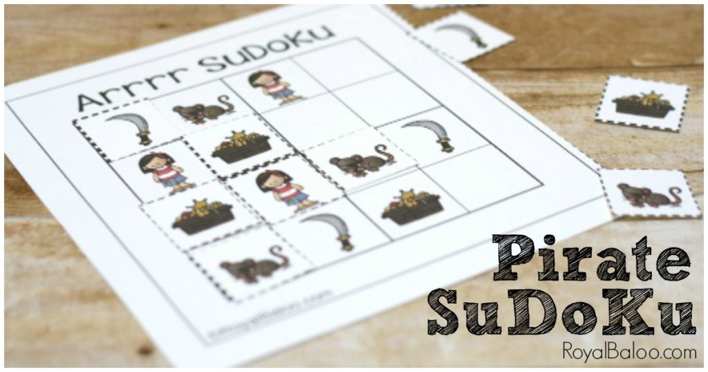 Pirate SuDoKu Free Printable. Practice some logic skills with these fun and free sudoku puzzles!