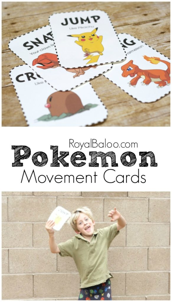 Pokemon Movement Cards!  Get some of that energy out with some pokemon themed cards that promote gross motor efforts!