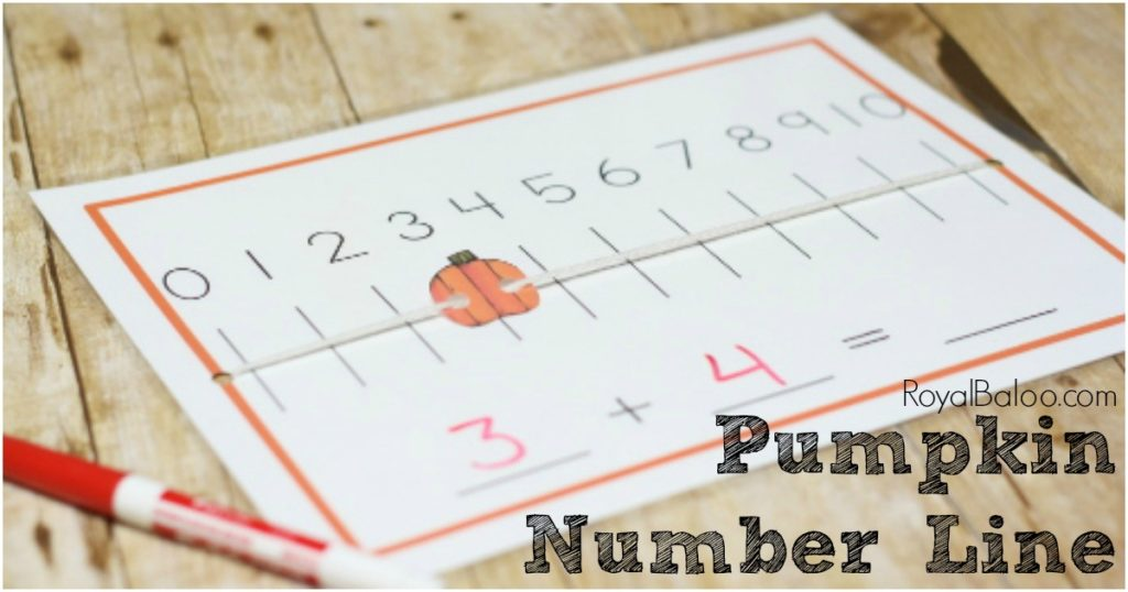 Practice simple addiion with a pumpkin number line!! Free pumpkin number line printable!