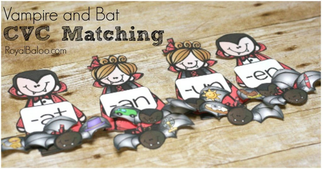 CVC Matching and reading practice with vampires and bats. Free printable for learning to read.