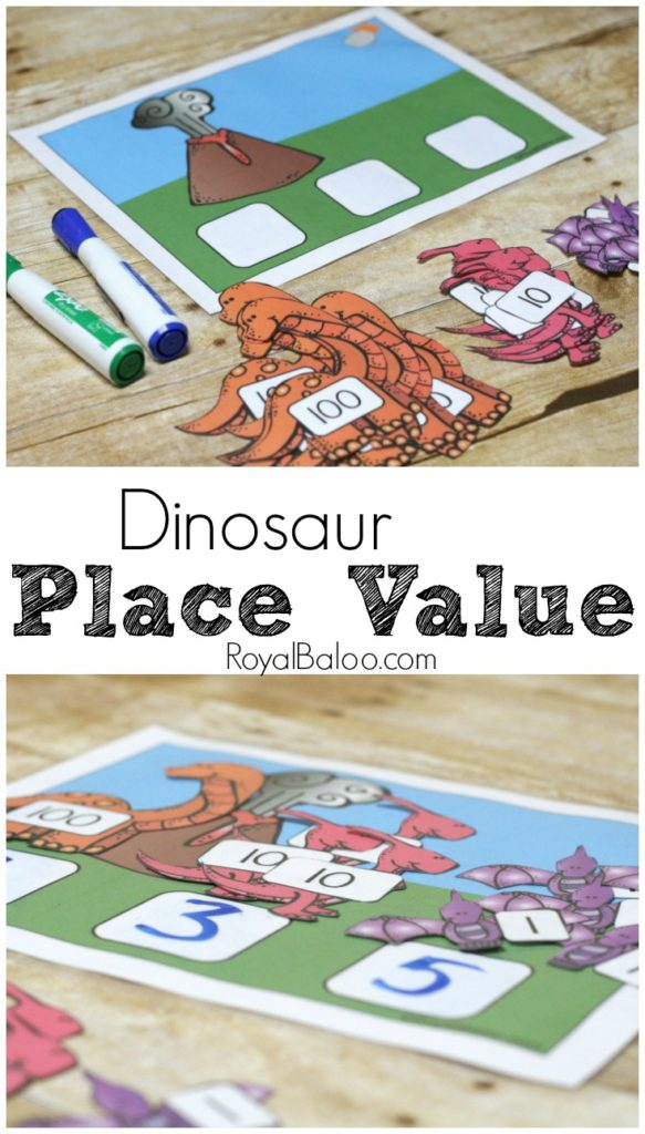 Practice place value with a fun dinosaur theme! 1's, 10s, and 100s can be tackled with the dinosaur place value.