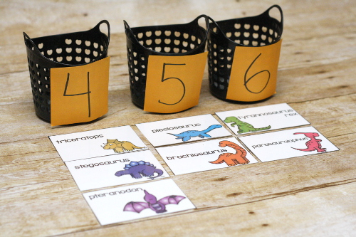 Challenge your kids to this dinosaur syllable challenge! Words with 1-3 syllables are common, but 4-6 syllables? Much harder. See if you can break apart these dinosaur names to see how many syllables each one has!