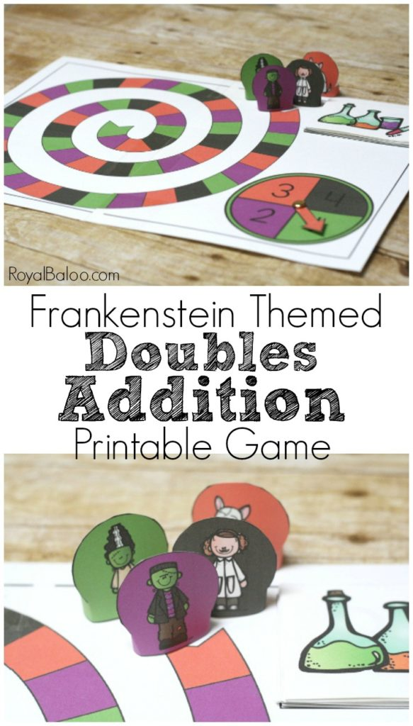 Make addition practice FUN with this Frankenstein themed printable doubles addition game.