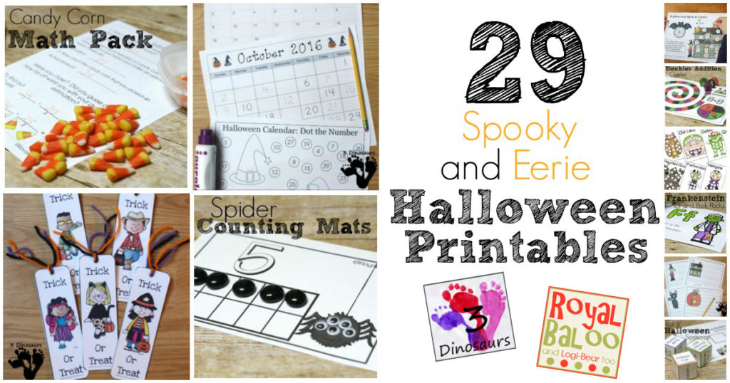 29 Spooky and Eerie Halloween Printables to keep your kids learning and entertained!  Math, reading, writing, calendar, printable packs, and more!