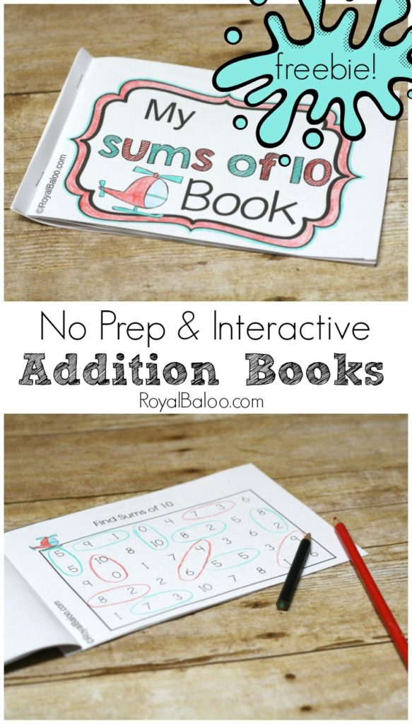 Practice addition sums with fun no prep and interactive booklets. The sums of 10 booklet is now available for free! No prep addition booklets.