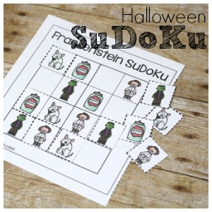 Halloween Themed SuDoKu free printable!  Witches, wizards, vampires, frankenstein, and skeleton SuDoKu printables!  Great for logic skills and problem solving for kids!
