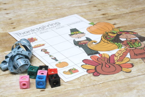 Practice standard and nonstandard measurements with the thanksgiving measuring set!