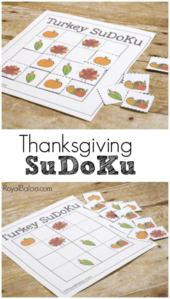 Thanksgiving SuDoKu.  Play this fun logic game with a Thanksgiving and turkey twist!