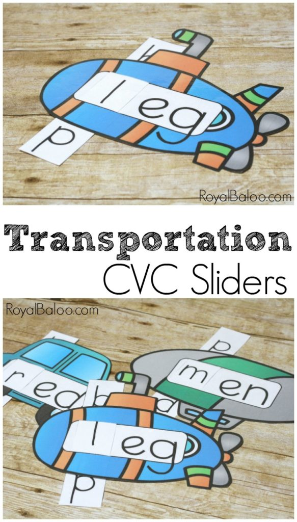 Learn and practice reading skills with fun transportation CVC sliders!  Free printable for CVC Practice!
