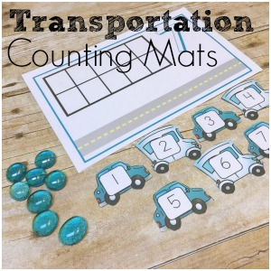 Transportation Counting Mats!  Practice counting, addition, and subtraction with these fun counting mats for cars and trucks!