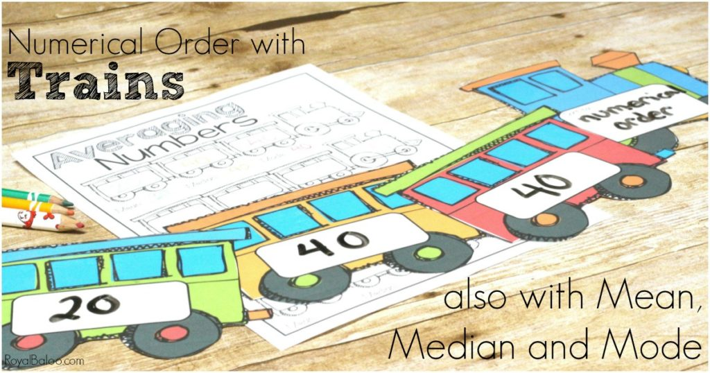 Train themed numerical order.  Order numbers, find the mean, median, and mode and manipulate the trains some numerical ordering fun.