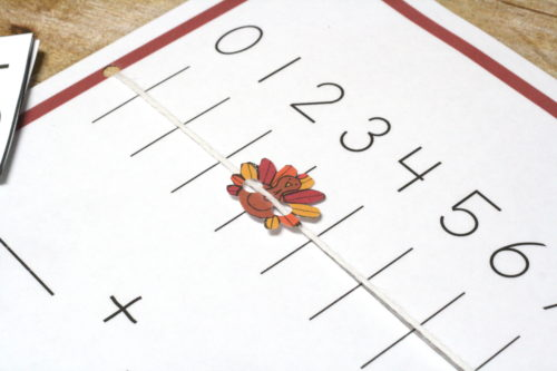 Practice addition and subtraction with a turkey number line from 1-10! Fun hands on math!