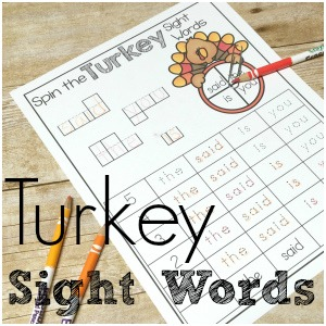 Turkey Spin a Sight Word.  Practice reading sight words with some turkey sight words fun!  Using pre primer dolch words!