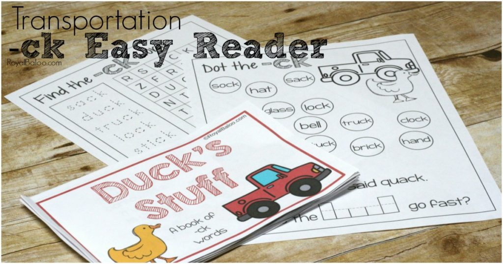 Easy reader featuring -ck words like duck, truck, stick, sock, and more!  Engage those early readers with a fun little book about Duck in his Truck!