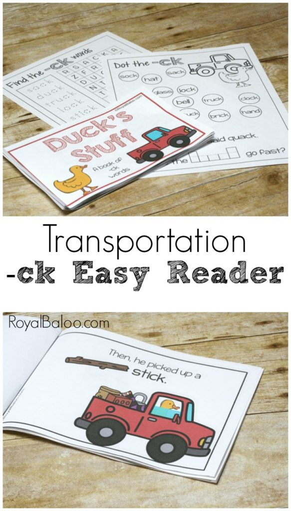 Easy reader featuring ck words like duck, truck, stick, sock, and more!  Engage those early readers with a fun little book about Duck in his Truck!  ck easy reader!