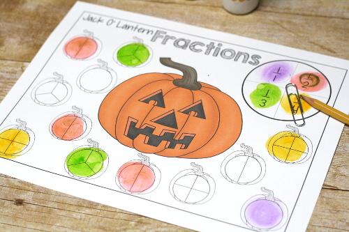 Jack O Lantern Fractions Practice Printables