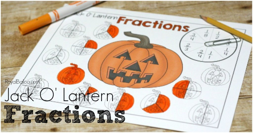 Free printable Jack O Lantern Fractions! Practice beginning fractions and more advanced fractions with this fun and simple dot marker fraction printable!