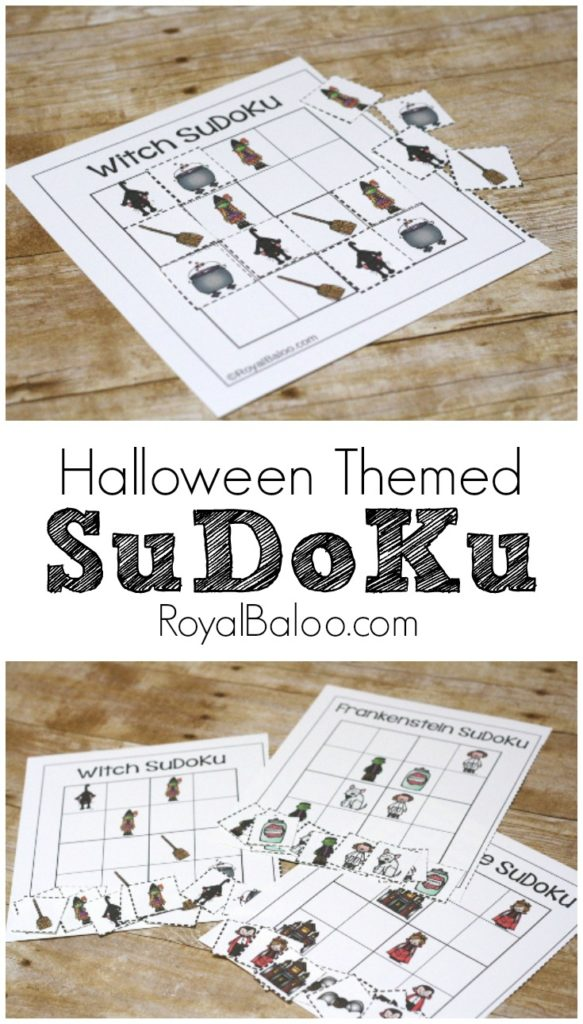 Halloween SuDoKu free printable!  Witches, wizards, vampires, frankenstein, and skeleton SuDoKu printables!  Great for logic skills and problem solving for kids!