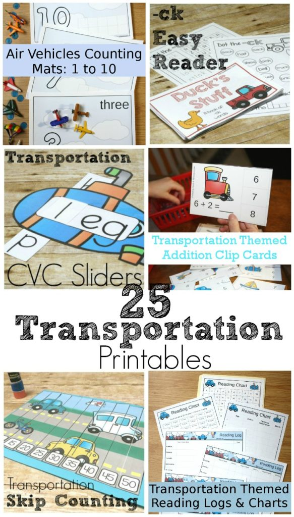 Tons of transportation printables for your kids from toddler through 3rd grade! Math, reading, writing, calendar, movement, addition, etc!