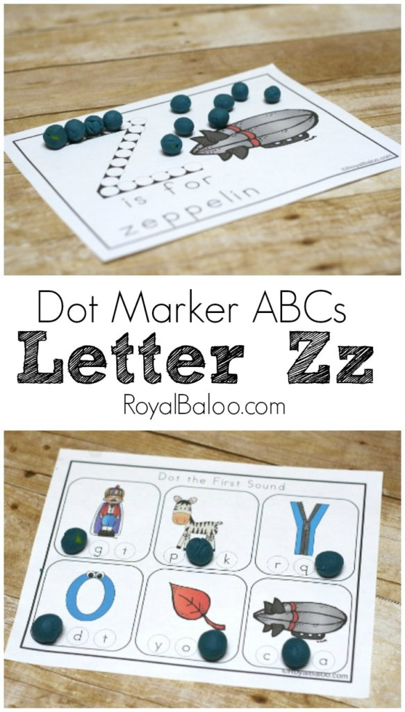 Letter Zz Dot Marker ABCs free alphabet pritnables for preschool and kindergarten!