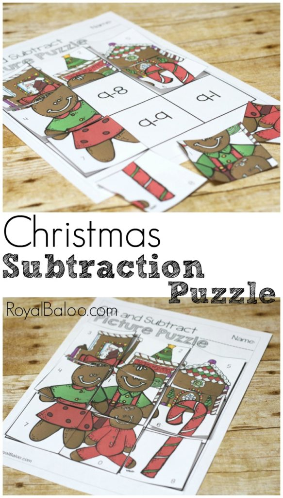 Subtraction practice is more fun in puzzle form!  Free Christmas subtraction puzzle for practicing subtraction!