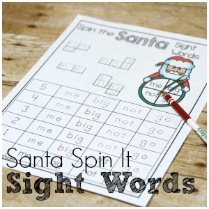 Santa Sight Word Spin It for Fun Sight Word Practice