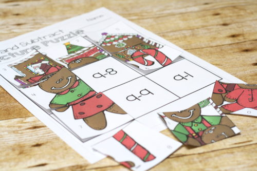 Subtraction practice is more fun in puzzle form!  Free Christmas puzzles for practicing subtraction!