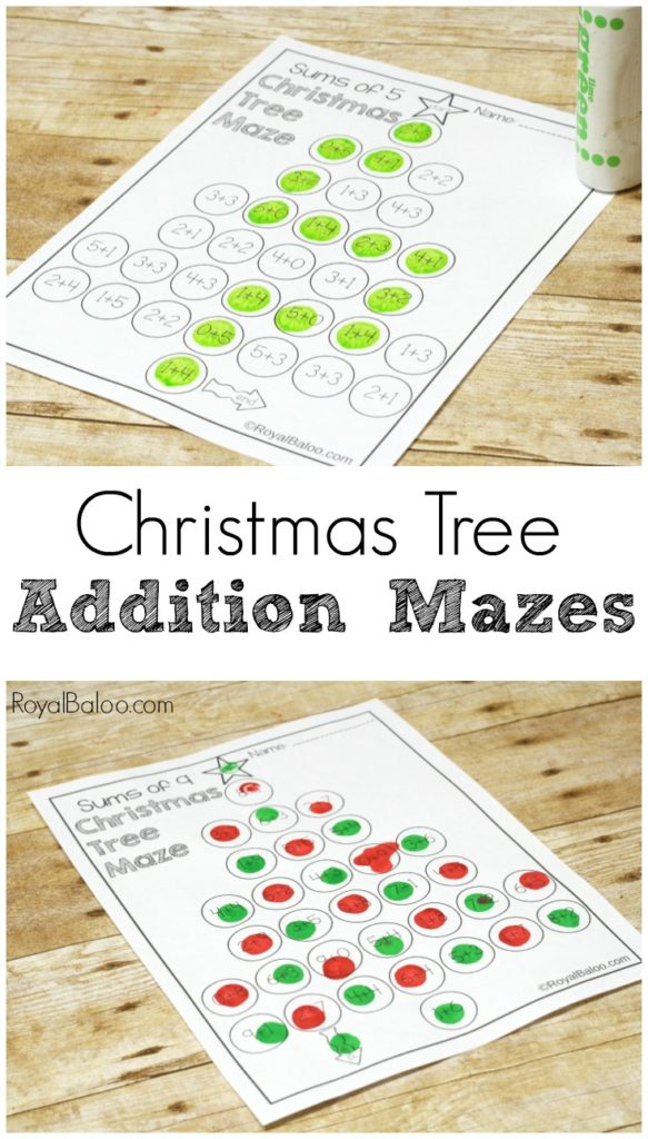 Christmas tree addition mazes are a fun way to practice addition facts! Get yourself from the top of the tree to bottom while adding the whole way!