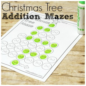 Christmas Tree Addition Mazes for Fun Addition Practice