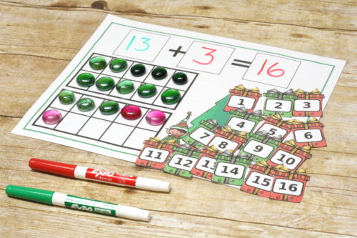 Involve Christmas in your schooling!  These Christmas Addition Mats (and subtraction too!) are perfect for practicing math facts this holiday season!