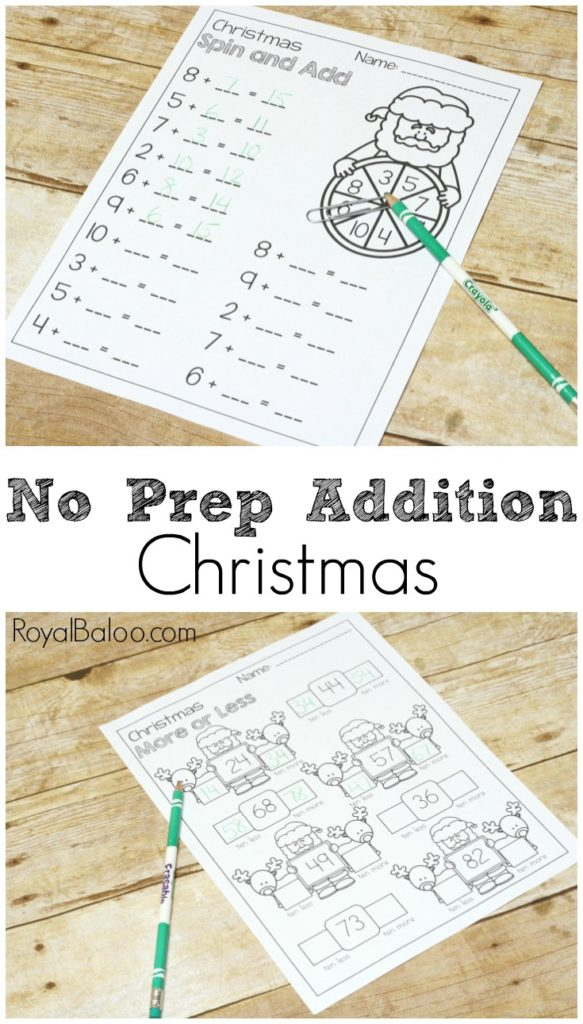Addition practice is easier and more fun with a no prep Christmas addition pack! Fun pages for practicing addition packs!