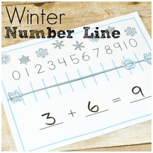Number lines are not boring when they're made with snowflakes!  This winter number line printable is perfect for wintery math practice!