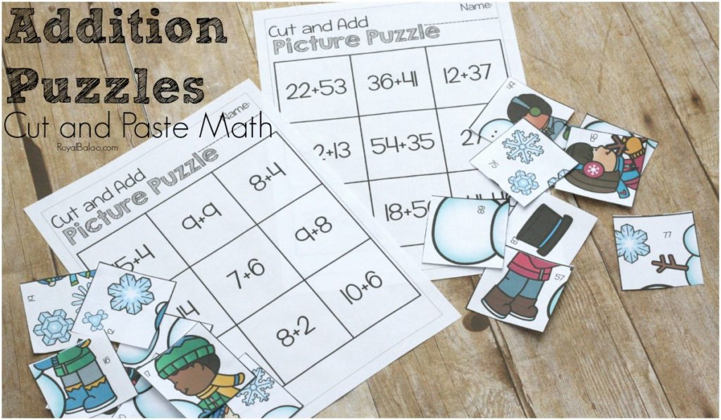 Addition Fun with Winter Addition Puzzles - Royal Baloo